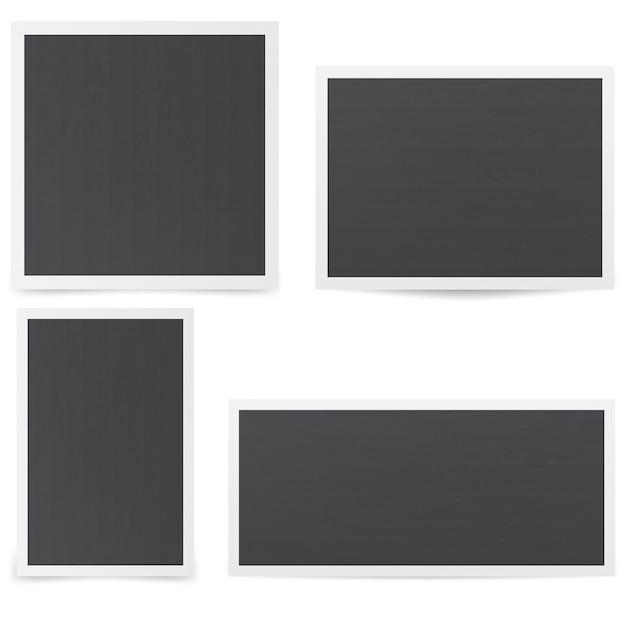 Zwarte fotolijsten. mockup van frames met verschillende schaduwen. Premium Vector