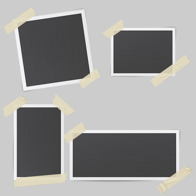 Zwarte fotolijsten Premium Vector