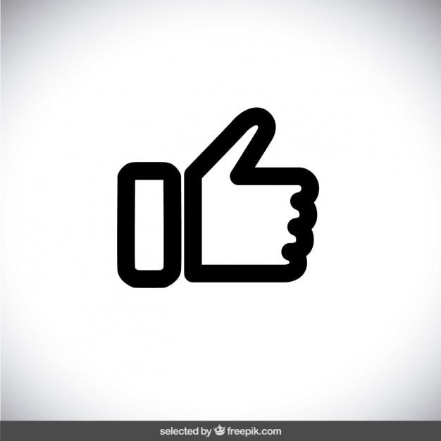 Zwarte geschetst duim omhoog Gratis Vector