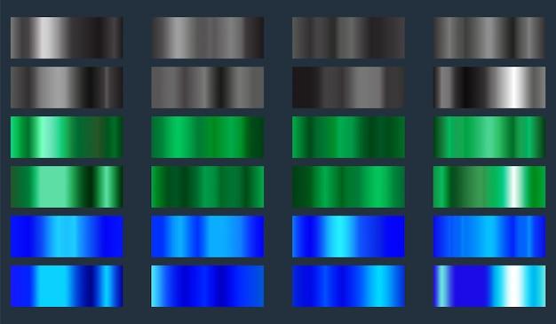 Zwarte, groene en blauwe metalen folietextuurreeks. verzameling van kleurovergangen achtergronden Premium Vector