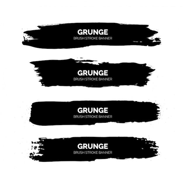 Zwarte grunge penseelstreek banners sjabloon Gratis Vector