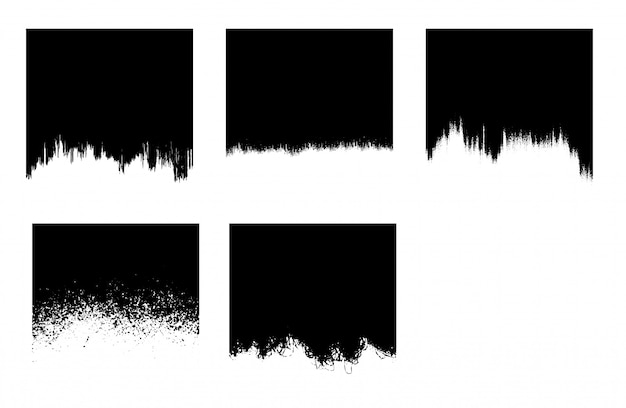 Zwarte grunge penseelstreek sjabloon Gratis Vector