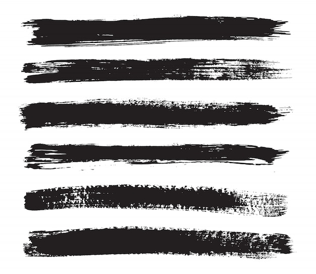 Zwarte grungeborstels Premium Vector