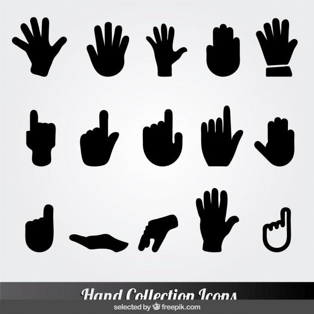Zwarte hand collectie iconen Gratis Vector