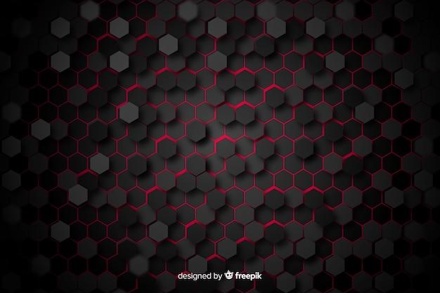 Zwarte honingraat met rood licht tussen cellen Gratis Vector