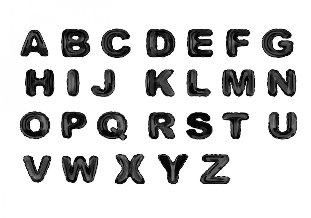 Zwarte inkt alfabet Gratis Vector