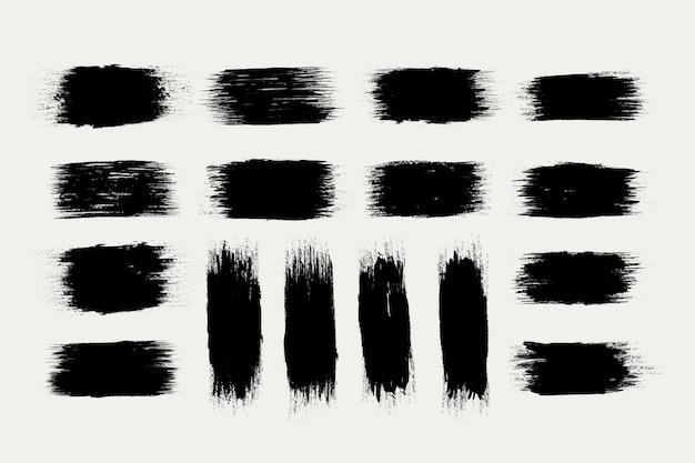 Zwarte inkt penseelstreken collectie Premium Vector