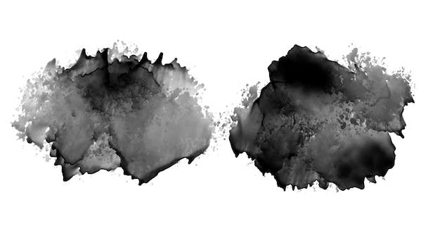 Zwarte inktvlek aquarel textuur ontwerpset van twee Gratis Vector