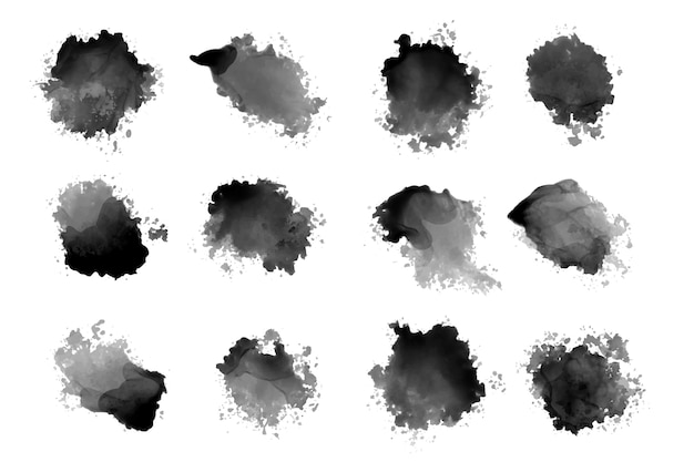 Zwarte inktwaterverf spettert en druipt Gratis Vector