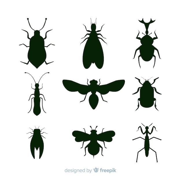 Zwarte insecten silhouetten collectie Gratis Vector