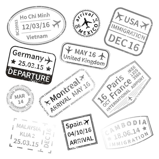Zwarte internationale visumzegels voor reizen Premium Vector