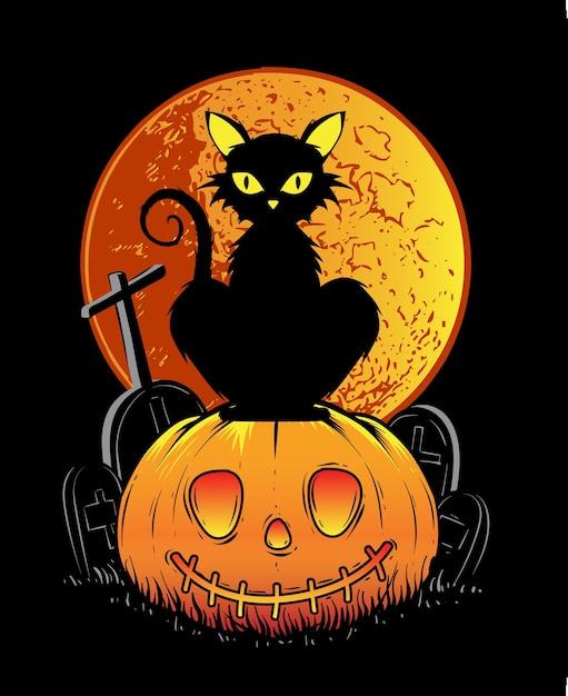 Zwarte kat halloween Premium Vector
