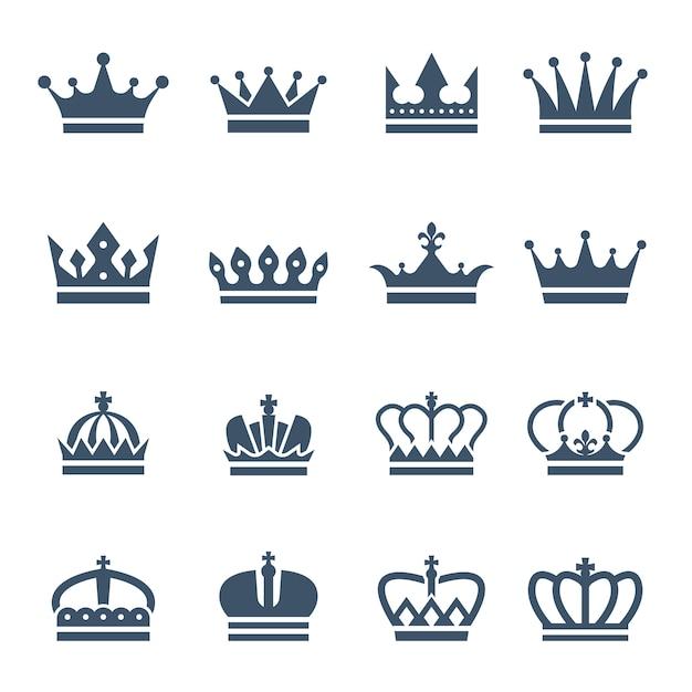 Zwarte kronen pictogrammen of symbolen Premium Vector