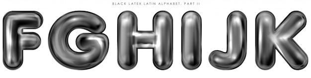 Zwarte latex opgeblazen alfabetsymbolen, geïsoleerde letters fghijk Premium Vector