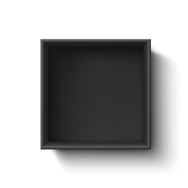 Zwarte lege doos, container op witte achtergrond. bovenaanzicht. sjabloon voor uw presentatie, banner, brochure of poster. illustratie. Premium Vector