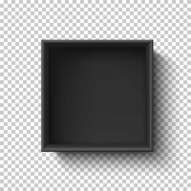 Zwarte lege doos op transparante achtergrond. bovenaanzicht. sjabloon voor uw presentatieontwerp, banner, brochure of poster. Premium Vector