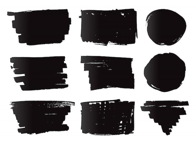 Zwarte markeringsbanners Premium Vector