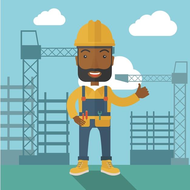 Zwarte mens die zich voor de toren van de bouwkraan bevindt. Premium Vector