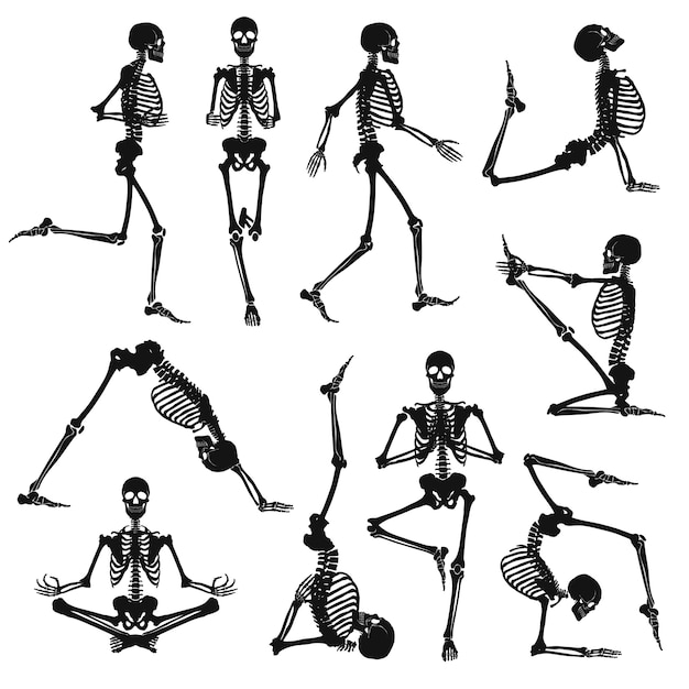 Zwarte menselijke skeletten Gratis Vector