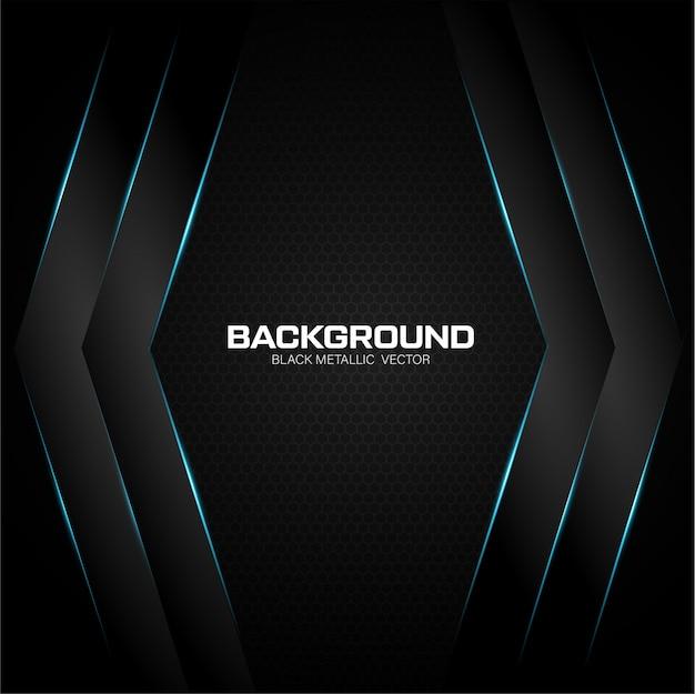 Zwarte metalen achtergrond met blauwe glanzend Premium Vector