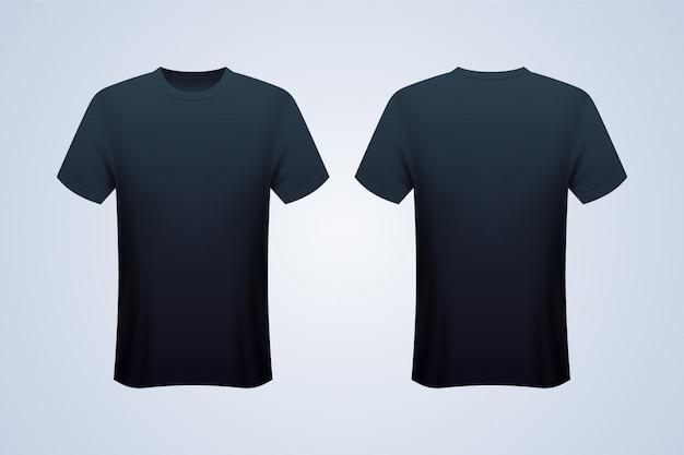 Zwarte mockup met voor- en achterkant zwart t-shirt Premium Vector