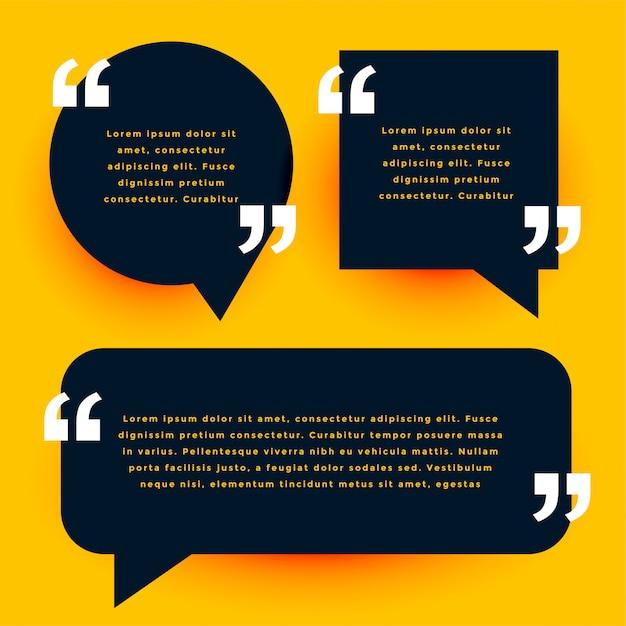 Zwarte moderne citaten sjabloon in chat bubble stijl Gratis Vector