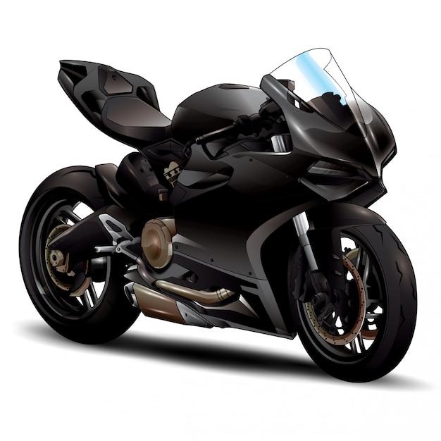 Zwarte motorfiets Premium Vector