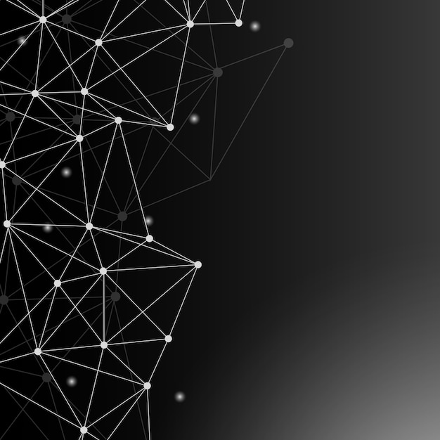 Zwarte neurale netwerkillustratie Gratis Vector
