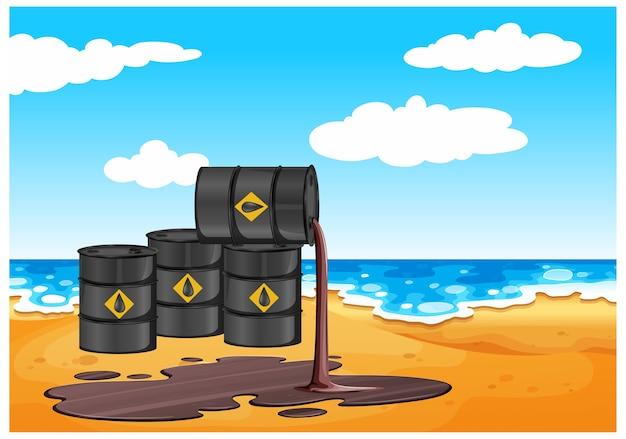 Zwarte olievaten met ruw teken morsen olie op de vloer die op strand wordt geïsoleerd Gratis Vector