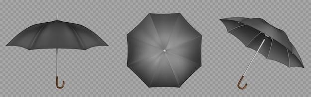 Zwarte paraplu, parasol boven-, zij- en vooraanzicht Gratis Vector