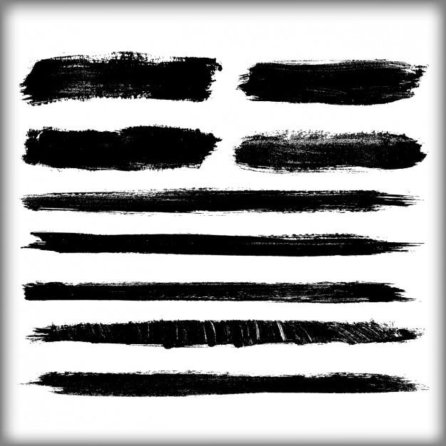 Zwarte penseelstreken ontwerp Gratis Vector