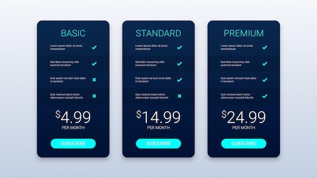 Zwarte prijzen tabel sjabloon Premium Vector