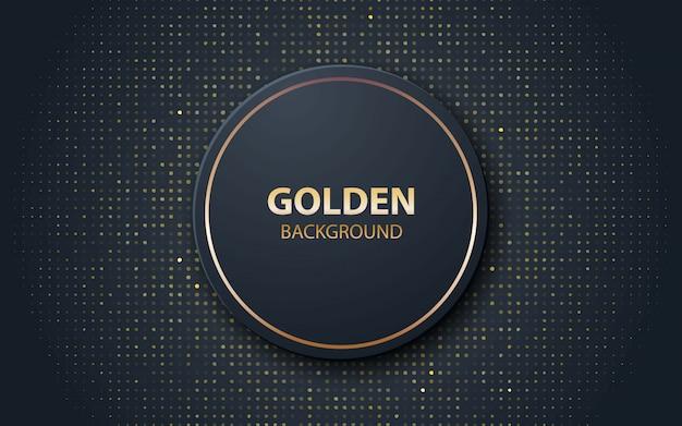 Zwarte realistische decoratie cirkelvorm met gouden glitters Premium Vector