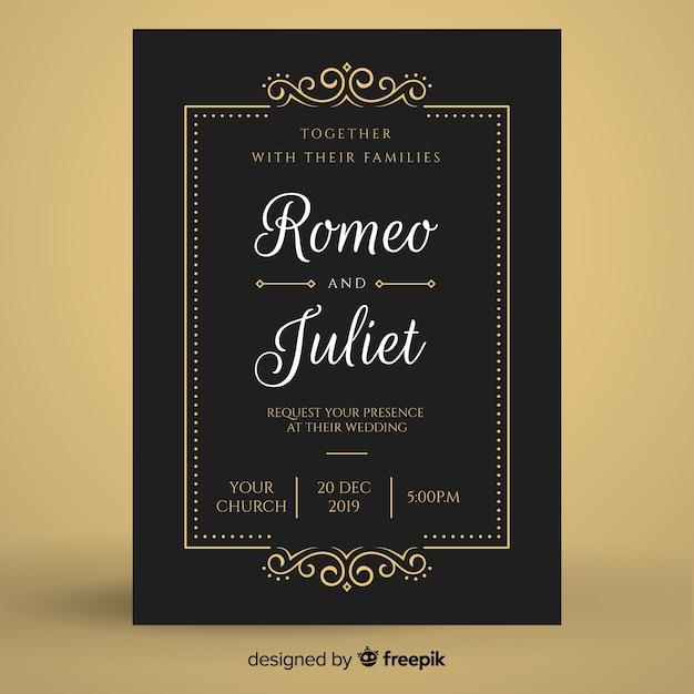 Zwarte retro bruiloft uitnodiging sjabloon Gratis Vector