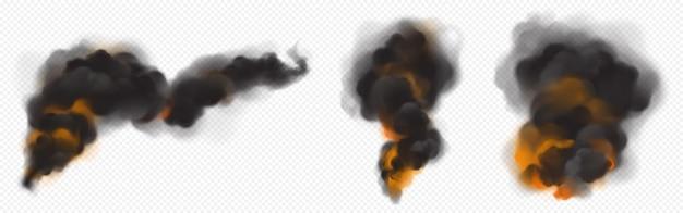 Zwarte rookwolken met oranje achtergrondverlichting van vuur. Gratis Vector