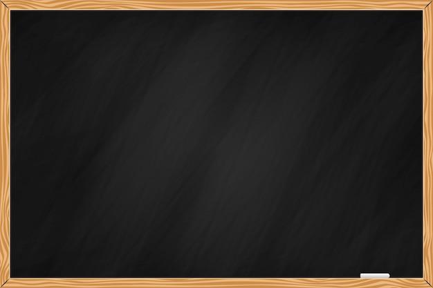 Zwarte schoolbordachtergrond met houten rand Premium Vector