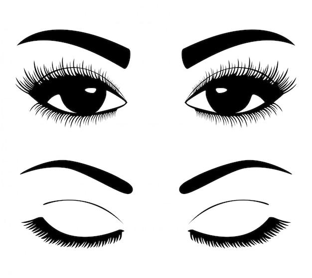 Zwarte silhouetten van wenkbrauwen en ogen geïsoleerd op wit Premium Vector