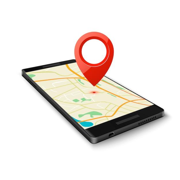 Zwarte smartphone met kaartgps-navigatietoepassing met speldpunt naar huidige locatie die op wit wordt geïsoleerd. vector illustratie Premium Vector