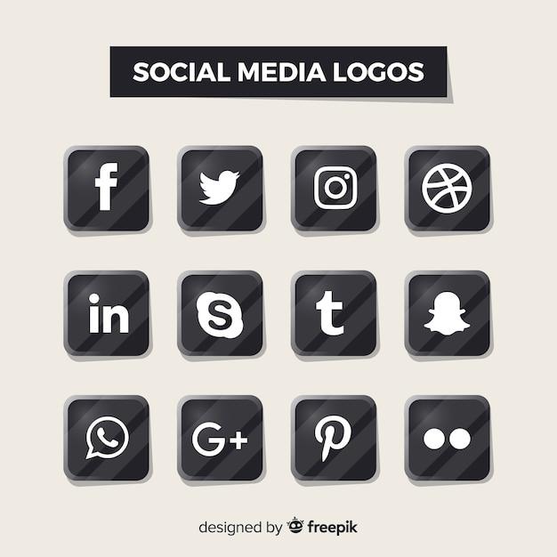 Zwarte sociale media-logo's Gratis Vector