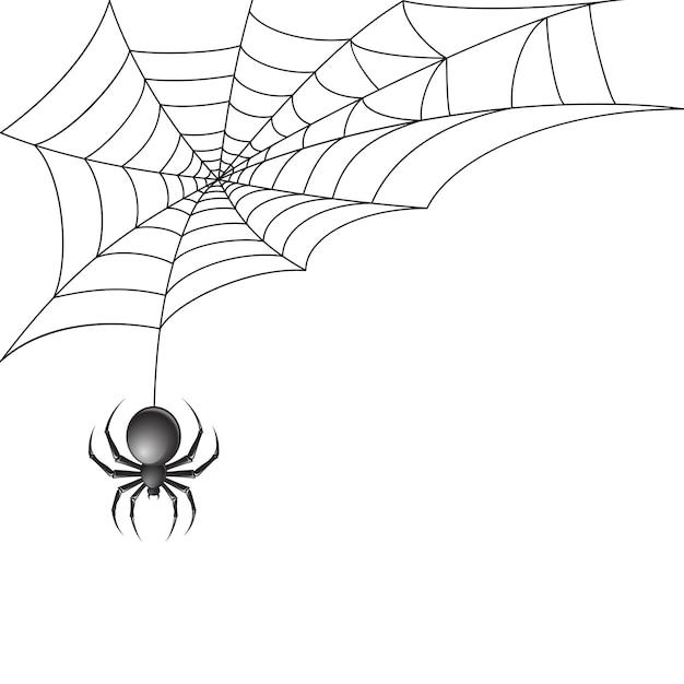 Zwarte spin met spinnenweb Gratis Vector