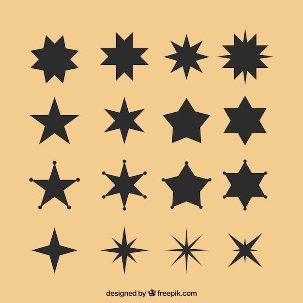 Zwarte sterrenset Gratis Vector