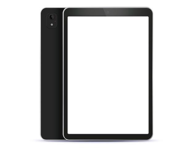 Zwarte tabletcomputer voor- en achterkant zijaanzicht. illustratie met wit scherm. Premium Vector