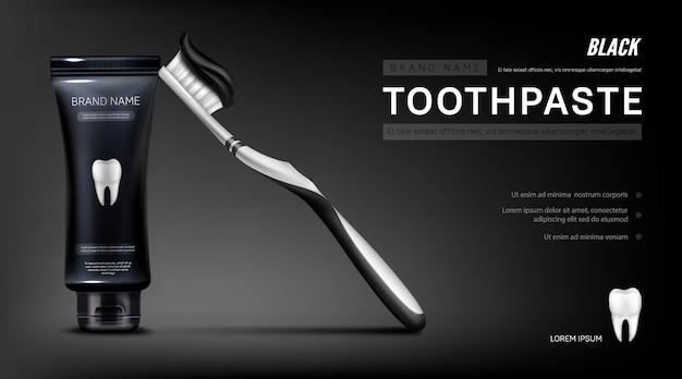 Zwarte tandpasta-advertentiesbanner met borstel en tand Gratis Vector