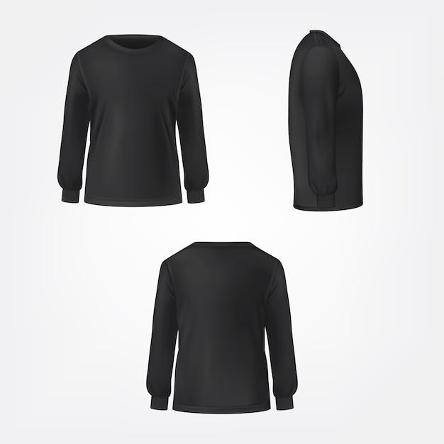 Zwarte trui drie zijden bekijken realistische vector Gratis Vector
