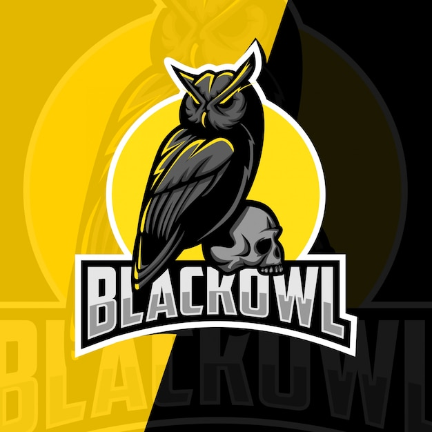 Zwarte uil mascotte esport logo ontwerp Premium Vector