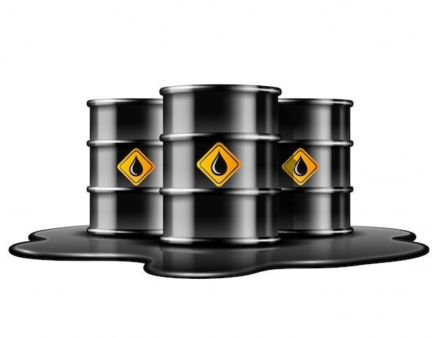 Zwarte vaten met oliedruppel label op gemorste plas ruwe olie. illustratie op witte achtergrond Premium Vector