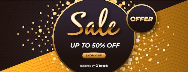 Zwarte verkoopbanner met gouden details Gratis Vector