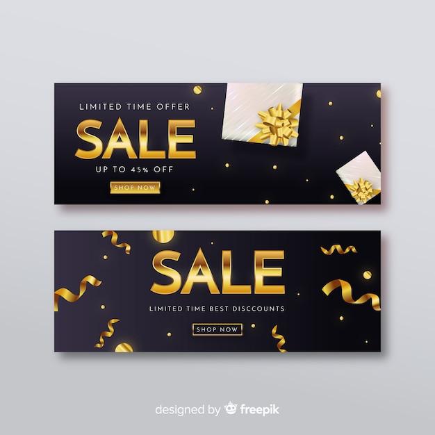 Zwarte verkoopbanner met gouden inscriptie Gratis Vector