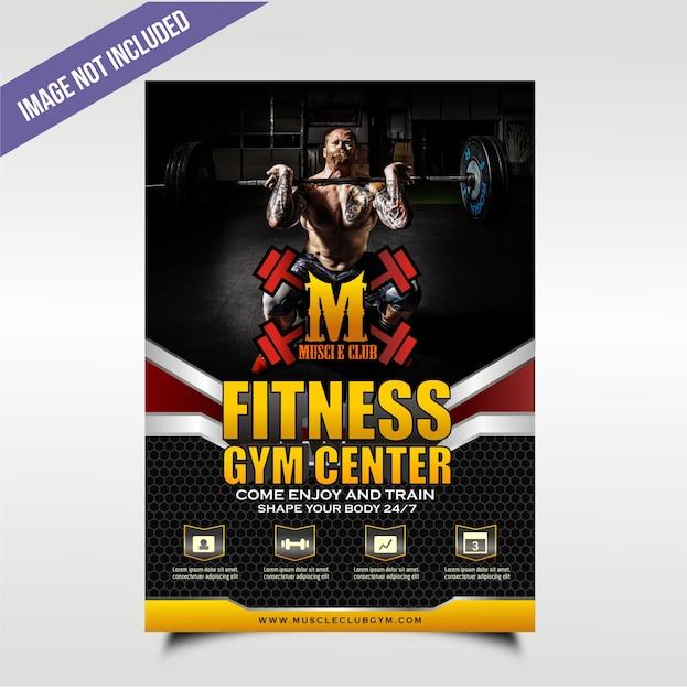 Zwarte vetgedrukte en getekende gym-flyer met vier servicepunten Premium Vector