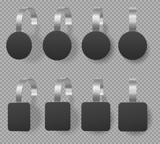 Zwarte vierkante en ronde wobblers, prijskaartjes Gratis Vector